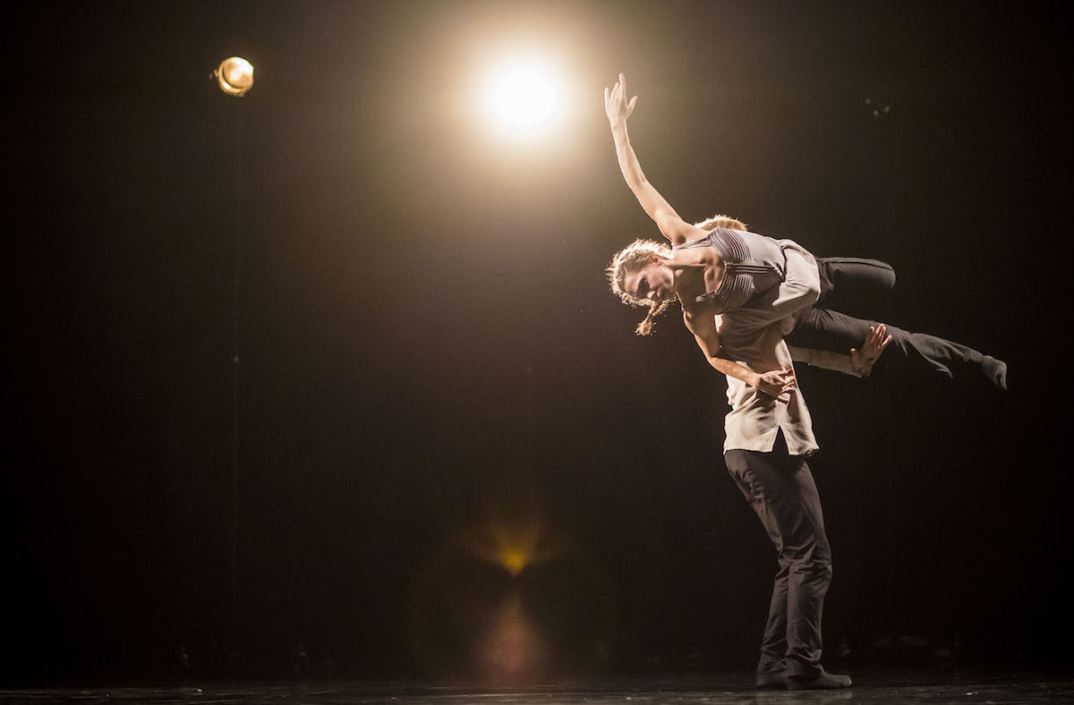 Hubbard Street Dancer Jacqueline Burnett and Elliot Hammans in A Picture of You Falling by Crystal Pite. Photo by Todd Rosenberg