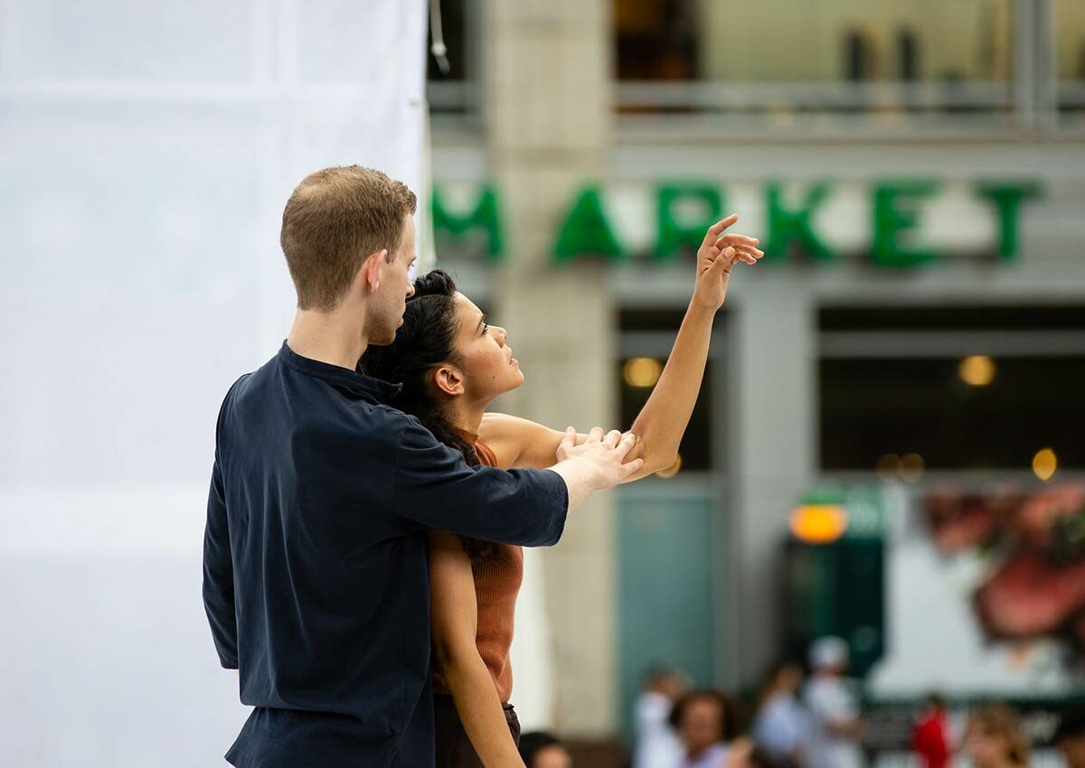 Two members of Gibney Dance Company perform at Union Square