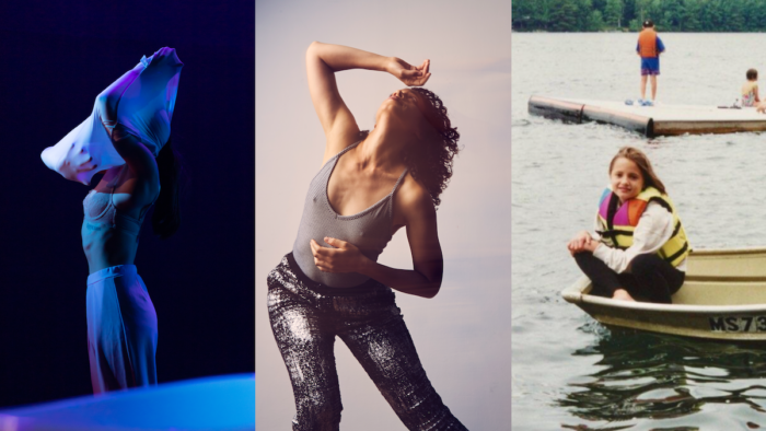 Three women photos side by side. Left is taking off her shirt, the middle is dancing and the third is sitting on a boat.