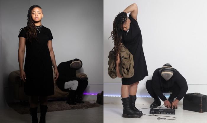 Two different images side by side of a woman standing in different positiions with a man crouched behind her.
