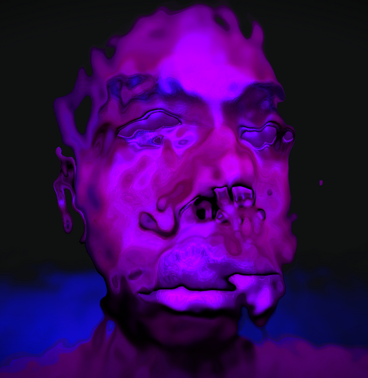Purple distorted face with a technological vibe.