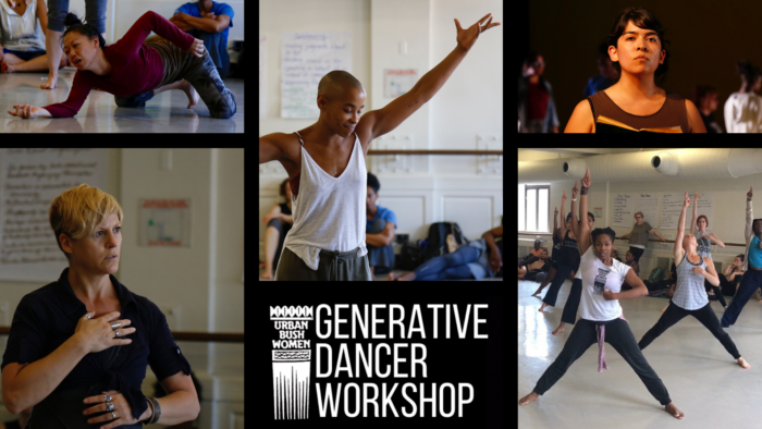 Collage of five photos with text in the middle that reads: Generative Dancer Workshop