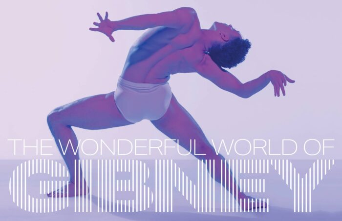The Wonderful World Of Gibney - Purple graphic with photo of dancer.
